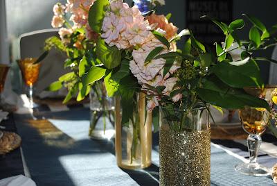 ,gold vases,  birthday dinner, birthday dinne