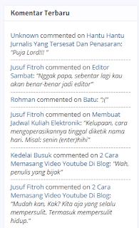 Memasang Komentar Terbaru di gadget Blogger
