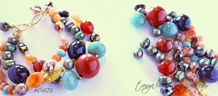 Tanya Lochridge Jewelry Red Poppy Jasper, Carnelian, Smoky Quartz, African Opal & Aventurine Gemstone Gold Vermeil Bracelet