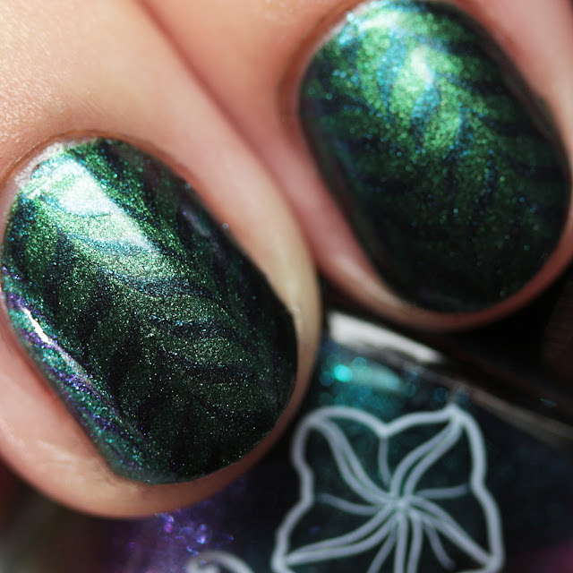 Moonflower Polish Celes-teal stamped over Sirena using the Hehe 40