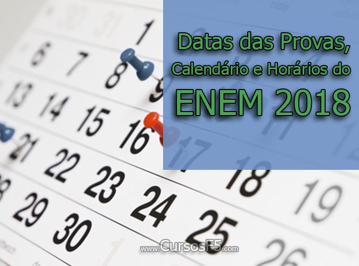 Datas das Provas, Calendário e Horários do ENEM 2018