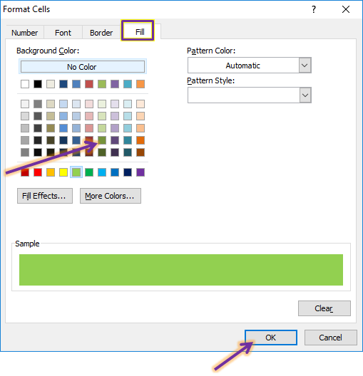set warna conditional formating