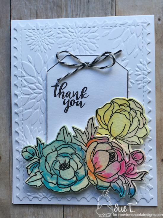 Thinking of you by Sue features Peony Blooms and Framework by Newton's Nook Designs; #newtonsnook