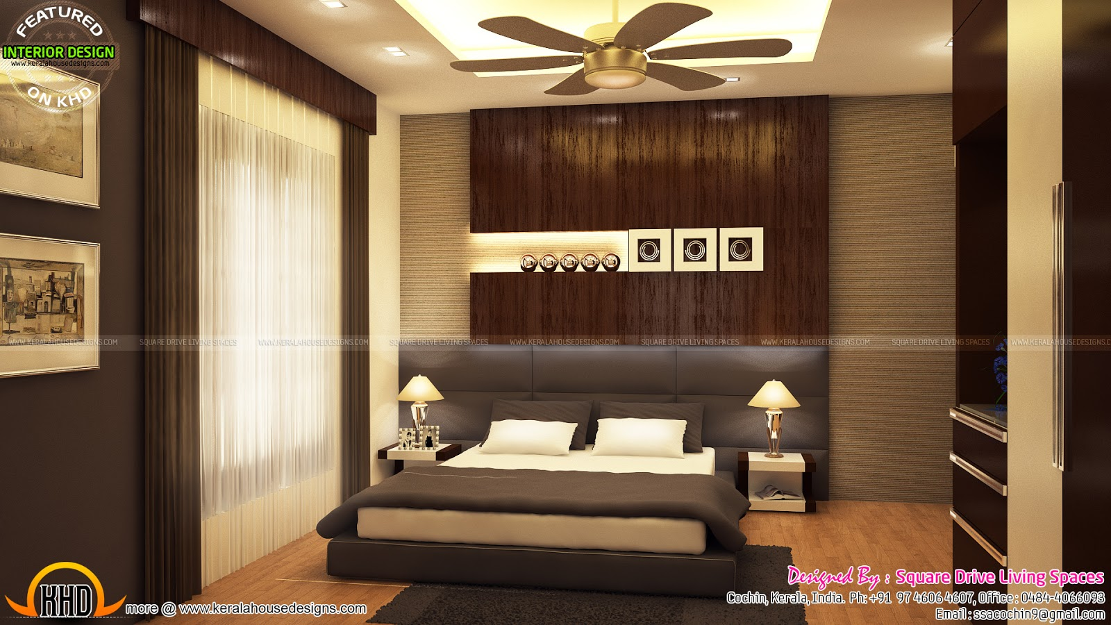 Interior designs of master bedroom, living, kitchen and
