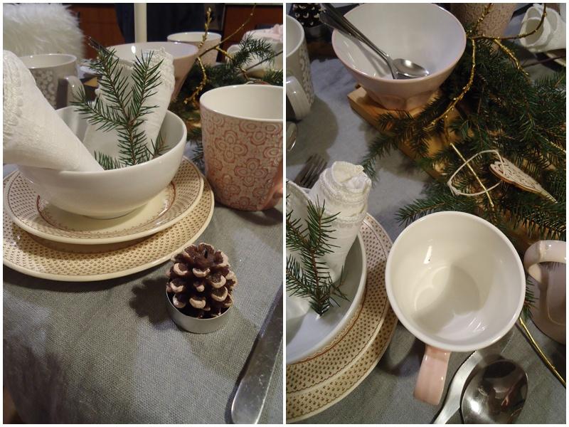 świąteczny stół, szary lniany obrus, złote gałązki