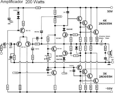 esquema elétrico amplificador de 200w