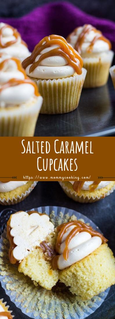 Salted Caramel Cupcakes #cupcakes #recipedessert