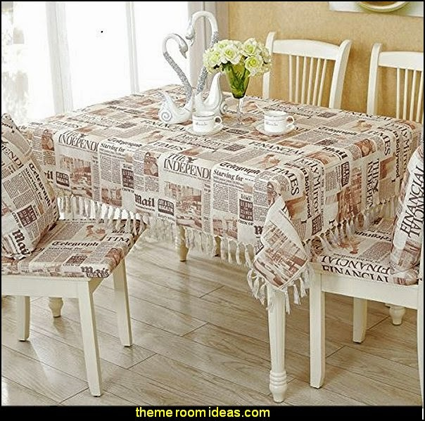 Vintage Style Newspaper Tassel Tablecloth Cotton And Linen Table Cloths Handmade Tassels Dinning Table Decoration