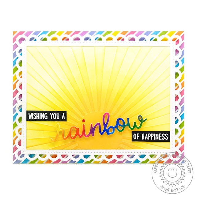 Sunny Studio Stamps: Over The Rainbow Rainbow Word Frilly Frames Cards by Anja Bytyqi