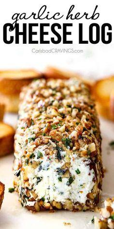 Garlic Herb Cheese Log #appetizer #snack #garlic #herb #cheese #log