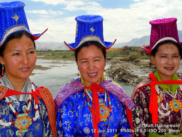 people, portrait, street portrait, triple portrait, groupshot, Ladakh, Ladakhi women, traditional costume, silk costume, traditional Ladakhi hats, Facing the World, © Matt Hahnewald