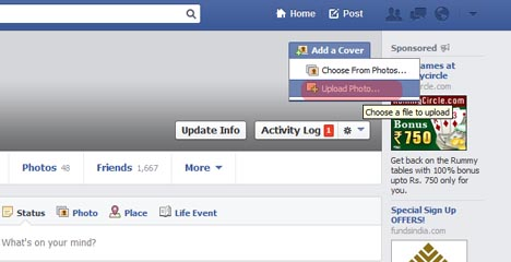 Upload a Cover Photo on Facebook Timeline