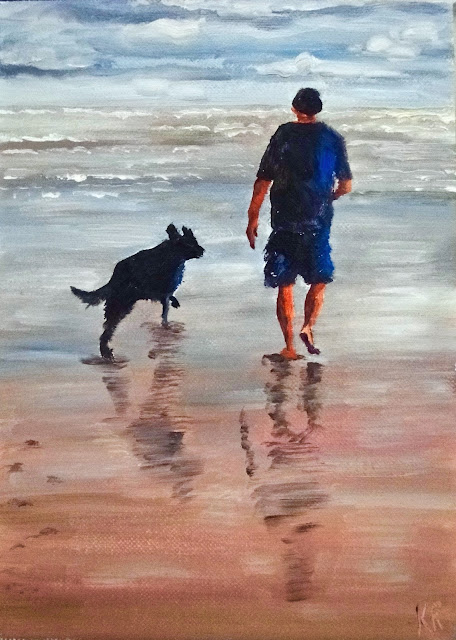 Morning walk, oil painting of man and dog on the beach