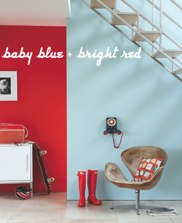 baby blue bright red office supplies