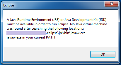 Eclipse No Java Virtual Machine was found Windows JRE JDK 64