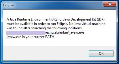 No Java virtual machine was found Eclipse JRE
