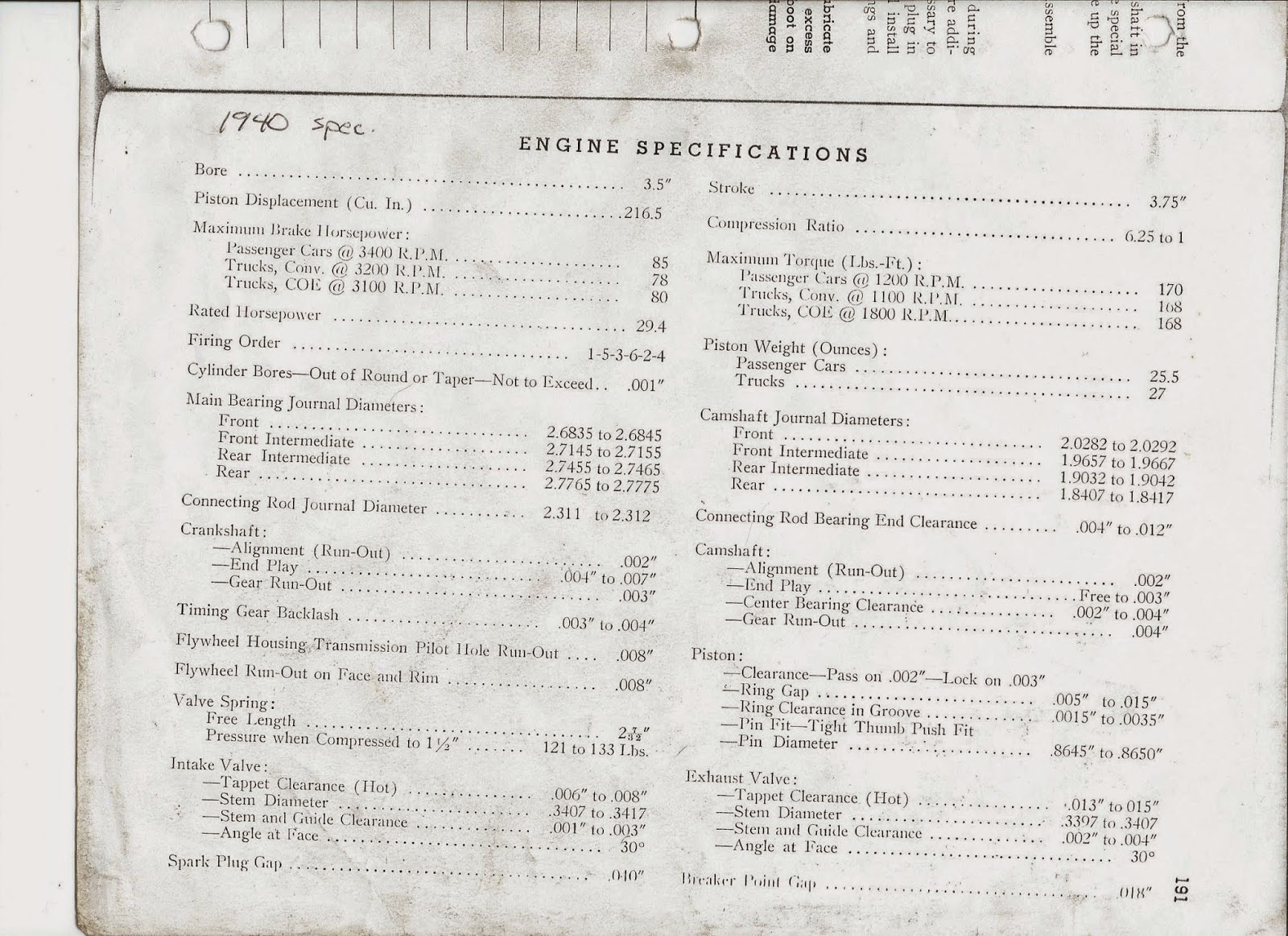 Chev 235 Guy Chevrolet Engine Specifications