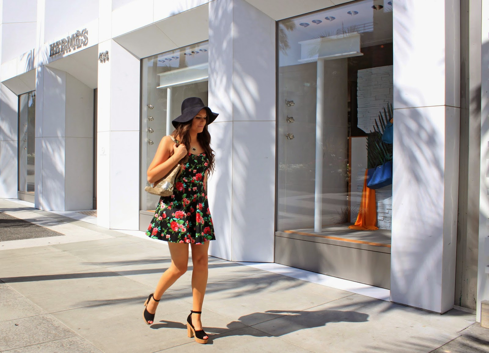 Fashion blogger Mash Elle shopping on Rodeo Drive in Beverly Hills