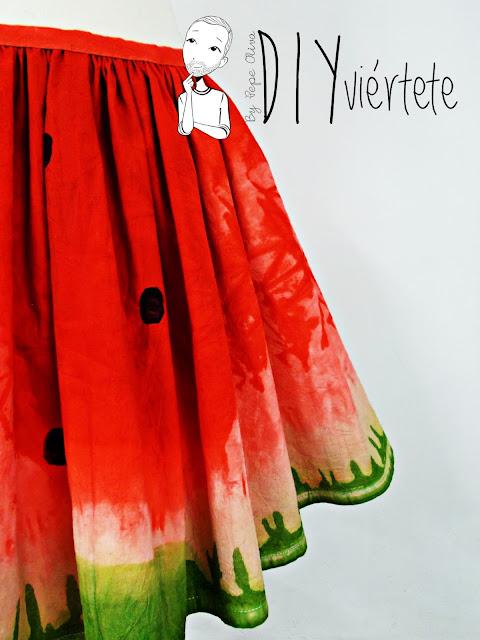 DIY-tintes iberia-teñir-rojo-verde-verano-fruta-sandía-estampado-melón-watermelon-falda-pepefalda-newlook-999999
