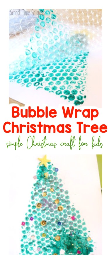 Christmas Tree Bubble Wrap Painting