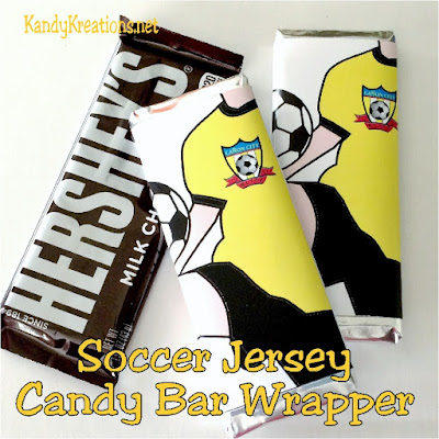 With the last weekend of soccer games here, here's a team treat that will excite all the boys.  These soccer jersey candy bar wrappers can be personalized, printed and given to your whole team for a sweet treat and a good luck wish.