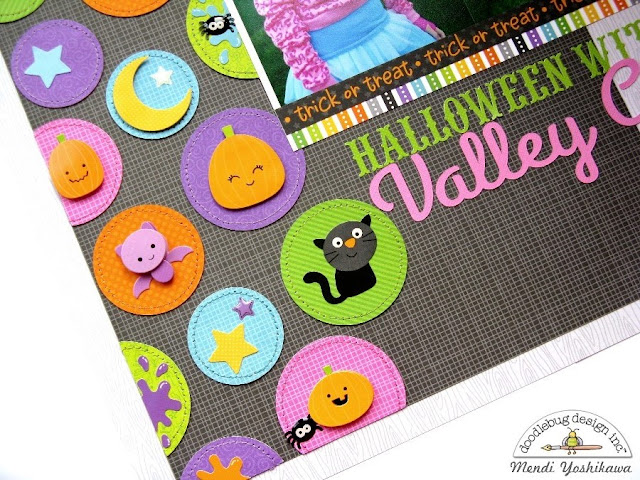 Doodlebug Design Boos & Brews Halloween Layout using Pink by Mendi Yoshikawa