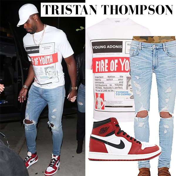 tristan thompson in print white t-shirt ripped jeans and red shoes men street style fashion 2017