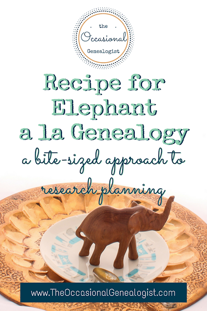 The Occasional Genealogist image for how to eat an elephant -- bite-size genealogy research planning