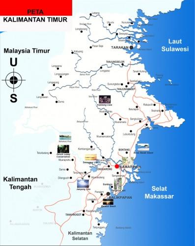 Peta Kalimantan Timur lengkap dan berwarna