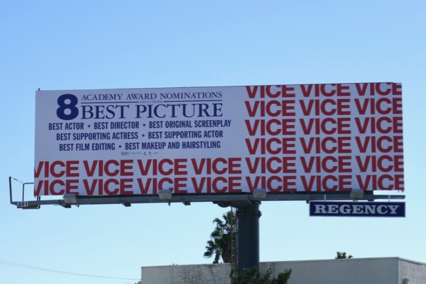 Vice Oscar nominee US Flag billboard