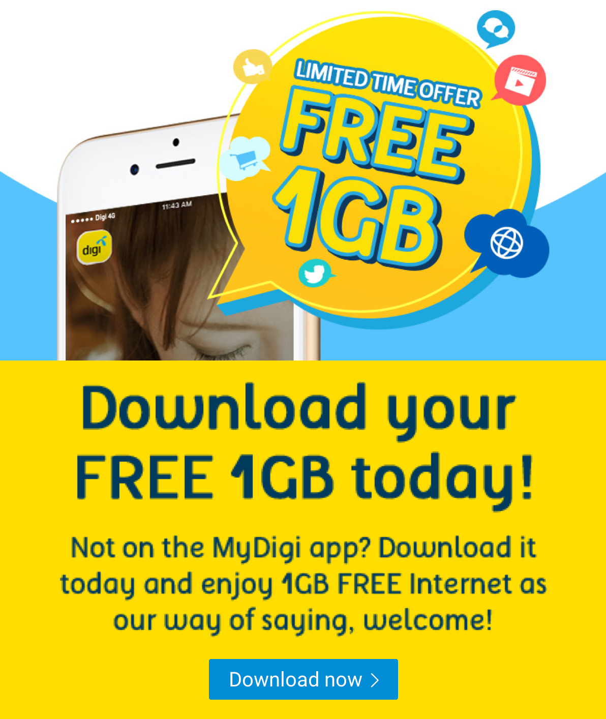 FREE 1GB Internet When You Download MyDigi App (First Time User Only)