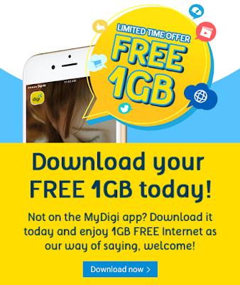 Download MyDigi App Get 1GB FREE Internet