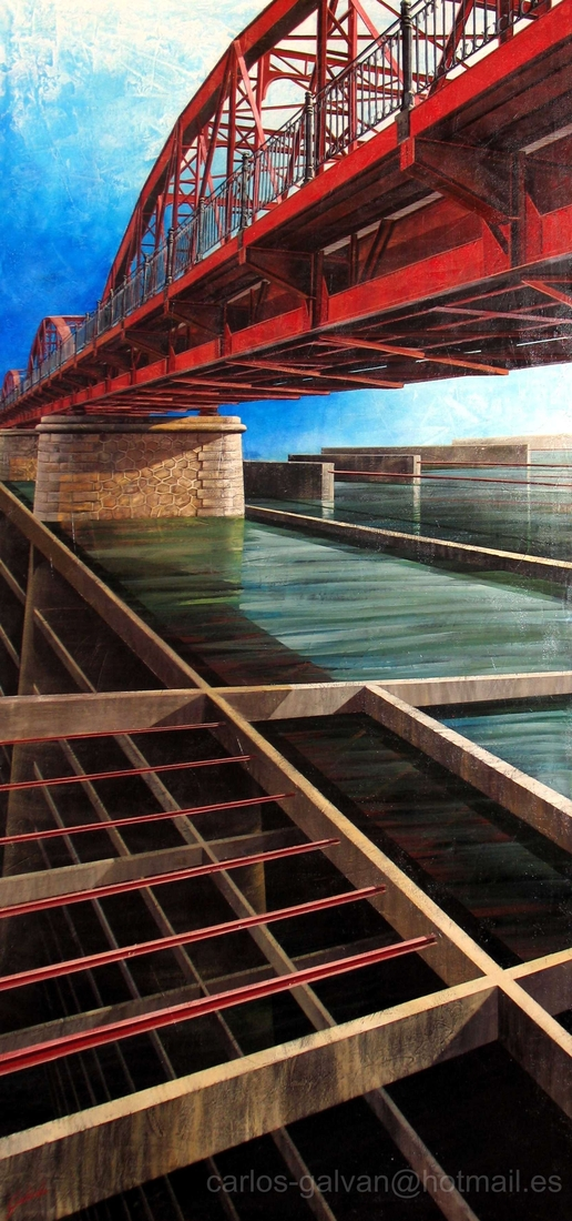 05-Bajo-el-Puente-Under-the-Bridge-Carlos-Galvan-Fantasy-Cityscapes-depicted-in-Paintings-www-designstack-co