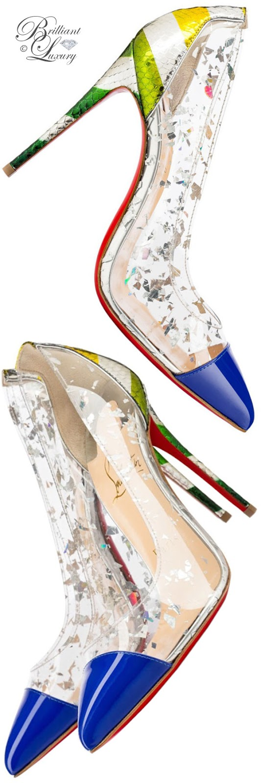 Brilliant Luxury ♦ Christian Louboutin Debut Patent PVC pumps in multicolor