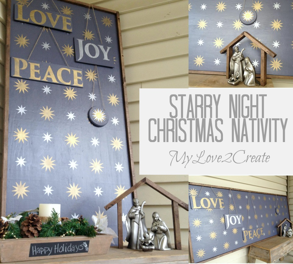 Starry Night Christmas Nativity Sign With Royal Design
