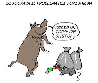 Roma, topi, cinghiali, problemi cittadini, umorismo, satira , vignetta