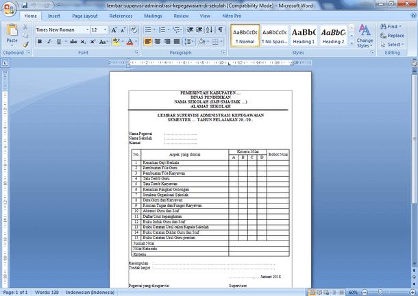 Contoh Format Lembar Supervisi Administrasi Kepegawaian Sekolah SMP SMA SMK