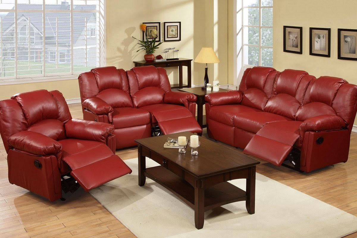 Reclining sofa sets sale red reclining living room sets for Red living room furniture