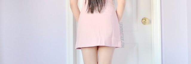 Pastel pink o-ring a-line mini skirt from Romwe