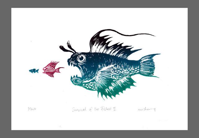 Survival of the Fishest. Edition of 250. Hand printed from a linocut block plate