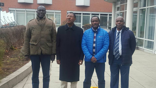 Kalonzo Musyoka with Moses Wetangula in Germany. PHOTO | FILE