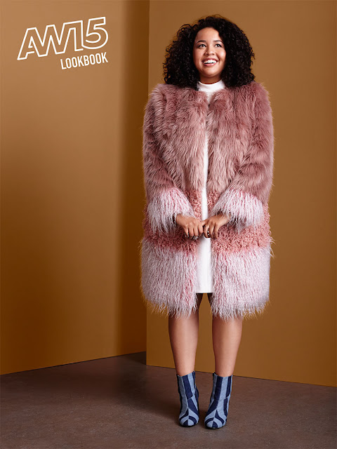 Plus Size Blogger Gabi Fresh Models Pink Ombre Faux Fur Coat from ASOS AW15 Collection