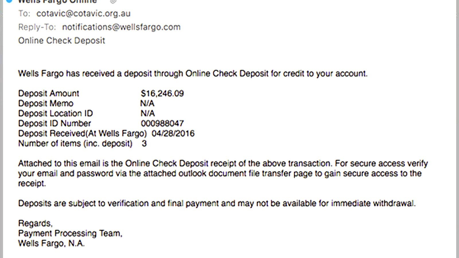 Wells Fargo Bank Wire Transfer