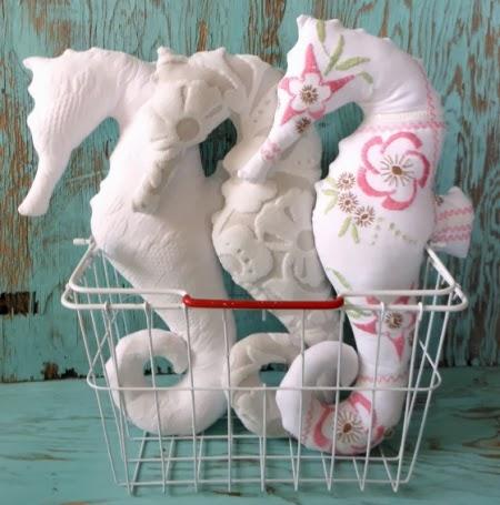 handmade seahorse pillow