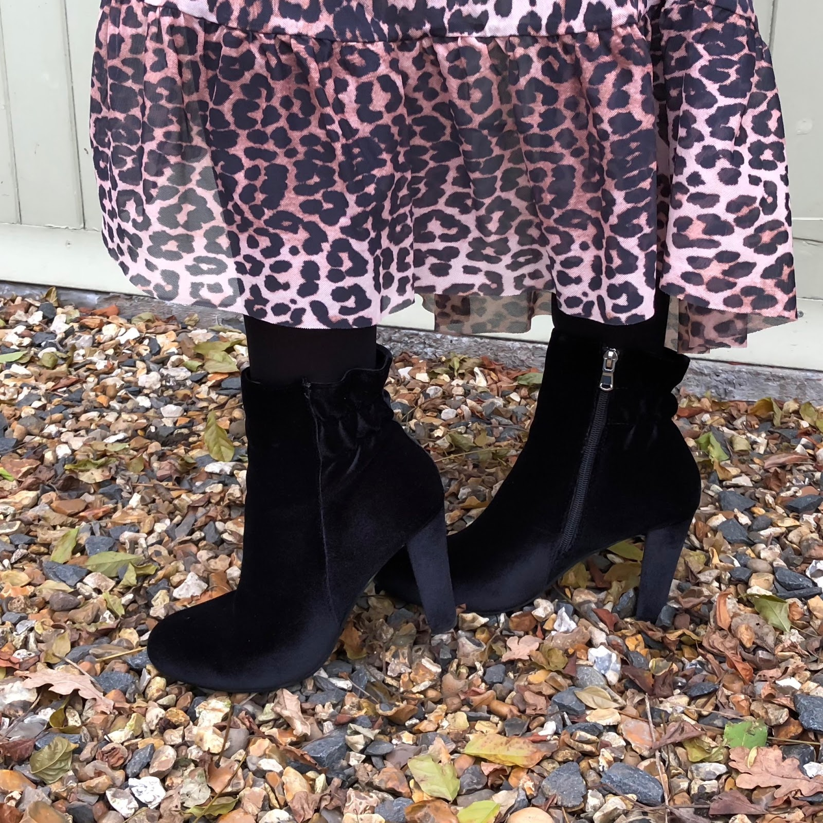 my midlife fashion, pavers shoes, bellissimo velvet ankle boot, ganni leopard print ruffle maxi wrap skirt