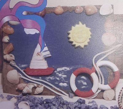 Cuadro marino artesanal, con arena y caracolas