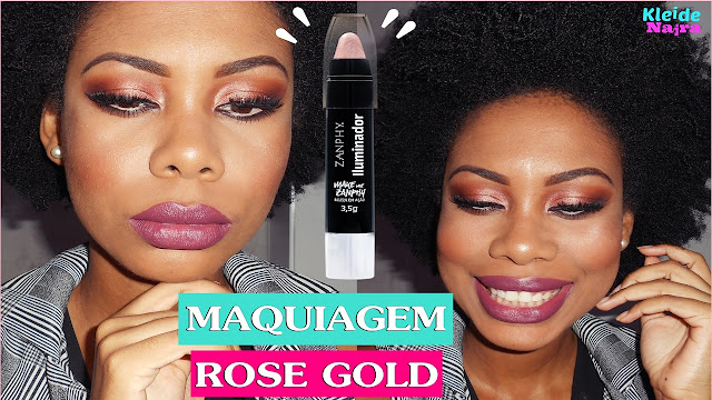 Maquiagem Rose Gold - Iluminador Stick Zanphy