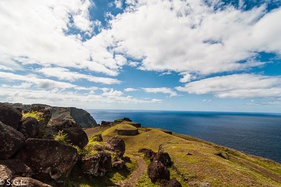 Vista de la aldea de Orongo en la isla Rapa Nui