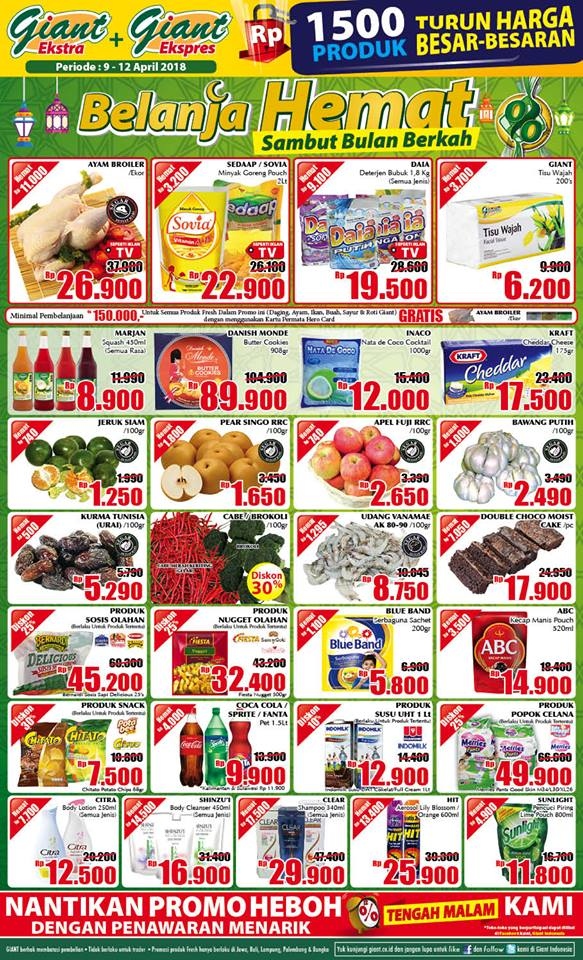Harga Promo GIANT Ekstra & Ekspres WEEKDAY 09 - 12 April 2018