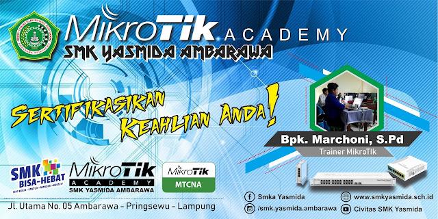 Desain Background Banner MikroTik Academy SMK Yasmida Ambarawa